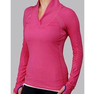 Lululemon Run Brisk Long Sleeve Pink Blue Pullover